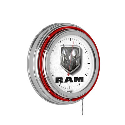 Neon Wall Clock-White and Red Double Rung Ana