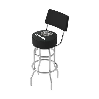 Logo Black 360 Degree Swivel Barstool with Bac